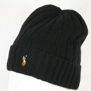 Polo Winter Beanie Hat in Black w/ Full Color Pony